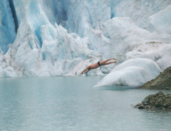 jumping into icy water